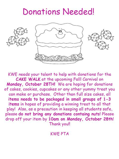 KWE PTA Cake Walk Donations Needed