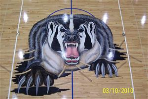 Badger painted on gym floor